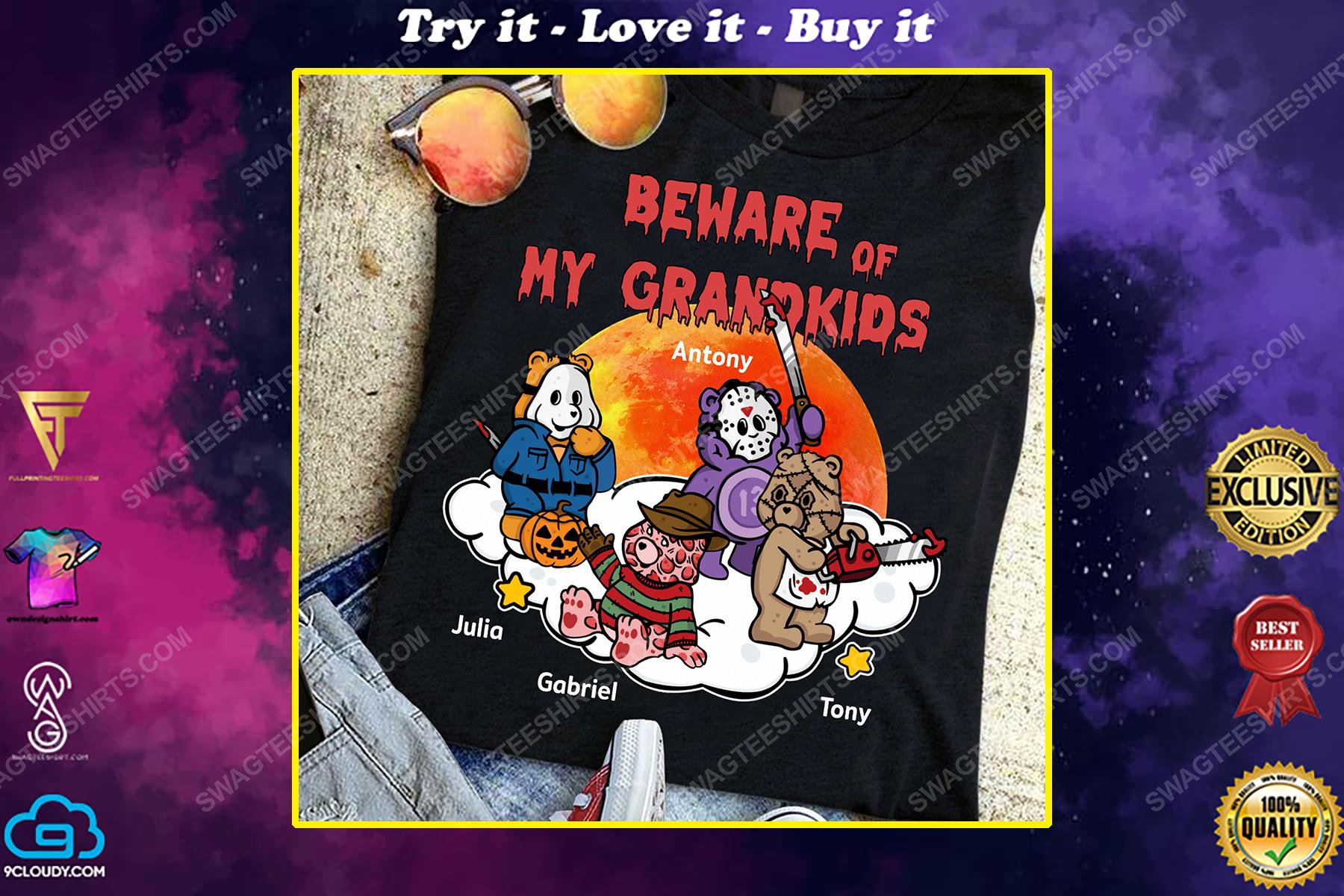 Custom beware of my grandkids halloween gift shirt