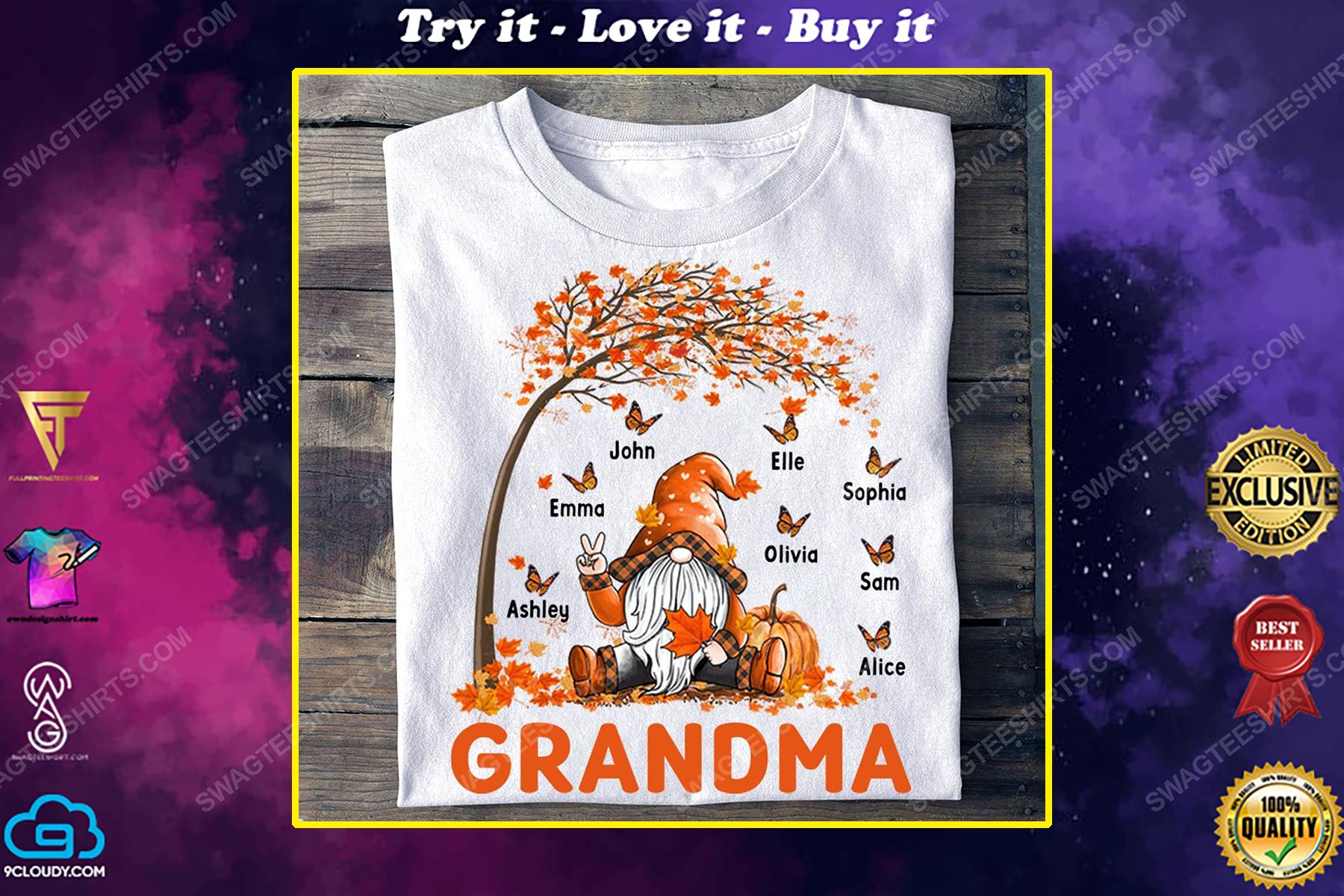 Custom gnome grandma fall season shirt