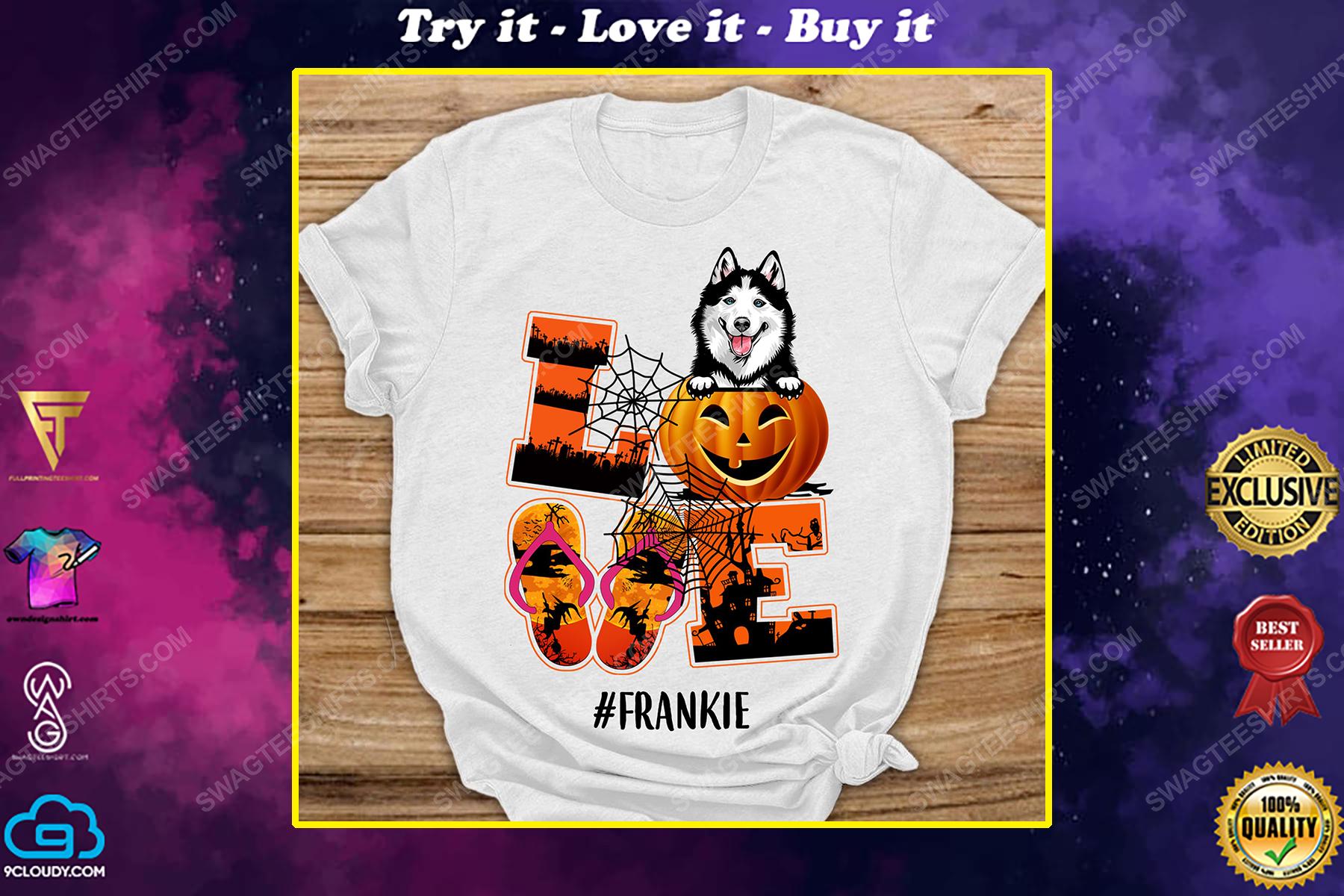Custom pumpkin dog halloween gift shirt