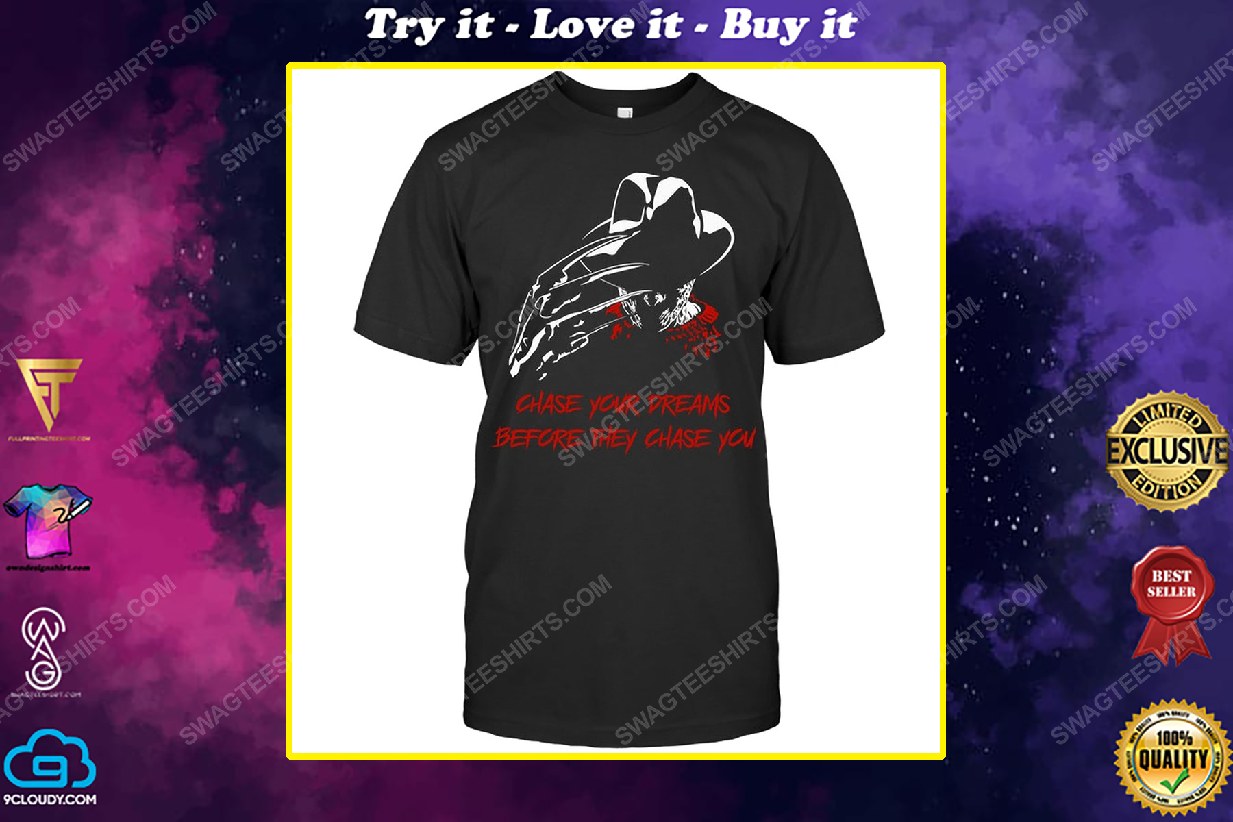 Chase your dreams before they chase you freddy krueger shirt