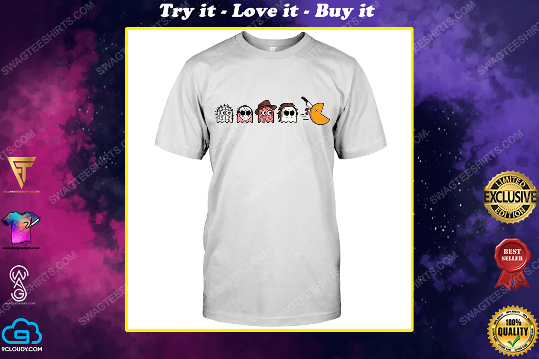 Pacman horror characters for halloween shirt