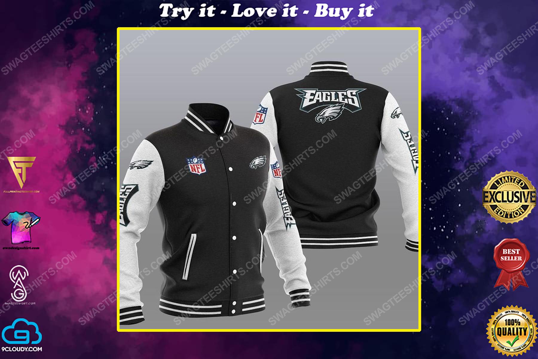 The philadelphia eagles nfl all over print baseball jacket